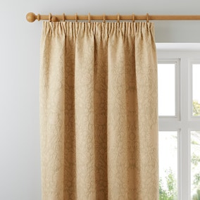 Kensington Gold Lined Pencil Pleat Curtains