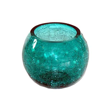 Teal Crackle Glass Round Bowl