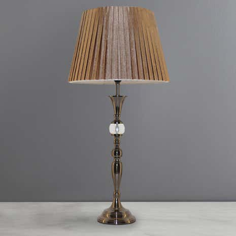 Antique Brass Box Pleat Table Lamp