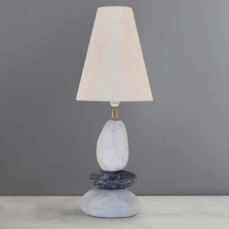 Natural Stone Effect Three Tier Pebble Table Lamp