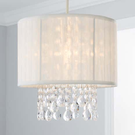 Voile and crystal cylinder pendant