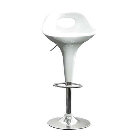 Set of 2 White Comet Gas Lift Bar Stools