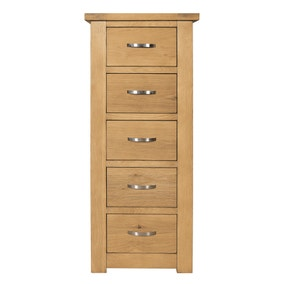 Richmond Oak 5 Drawer Tallboy