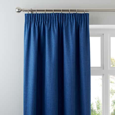 Solar Blue Pencil Pleat Blackout Curtains