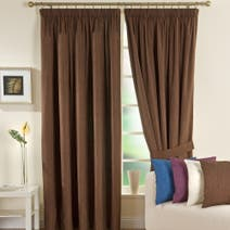 Solar Chocolate Blackout Pencil Pleat Curtains