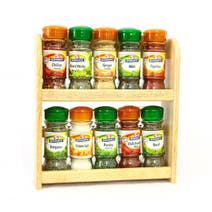 Rubberwood Spice Rack with Spices