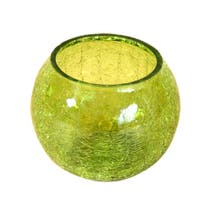 Key Lime Crackle Glass Round Tea Light Holder