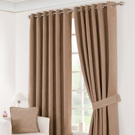 Latte Suede Blackout Eyelet Curtains