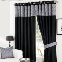 Parisian Black Lined Eyelet Curtains