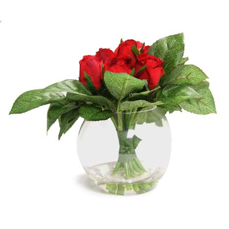 Rose Buds in Glass Vase