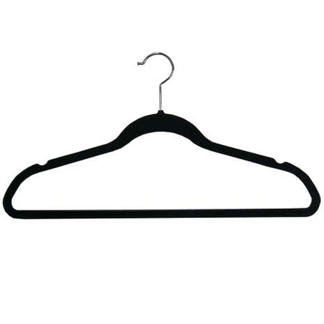Set of 5 Black Flocking Coat Hangers