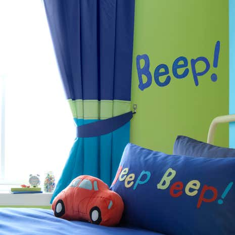 Kids Beep Beep Blackout Pencil Pleat Curtains