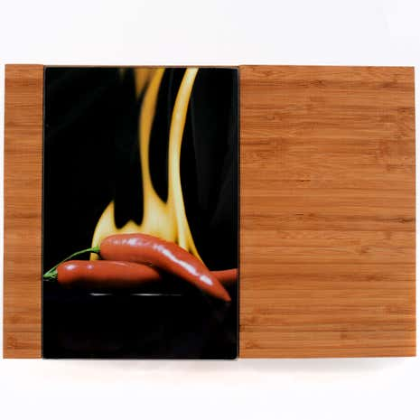Hot Chilli Bamboo Chopping Board with Glass Inserts