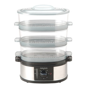 Morphy Richards 48755 Stainless Steel Silver 3 Tier Food Steamer