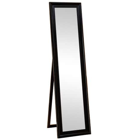 Floor length mirrors black wood framed mirror full size for Black framed floor length mirror