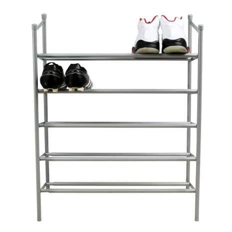 Silver 5 Tier Extending Shoe Rack