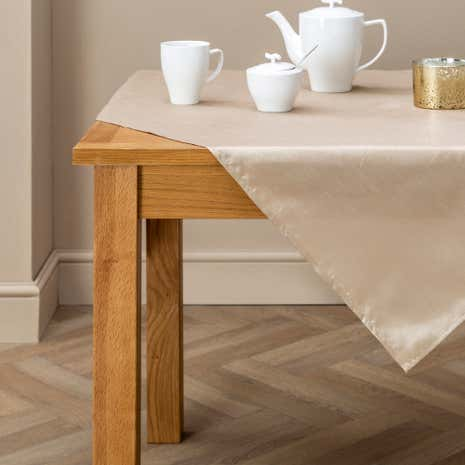 Oyster Faux Silk Tablecloth