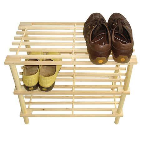 brown 3 tier shoe rack