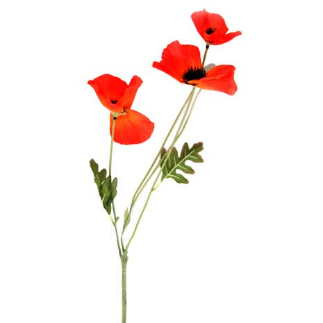 Artificial Orange Poppy Flower Stem