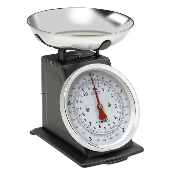 Hanson H500 5kg Traditional Black Kitchen Scales Dunelm