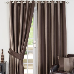 Monaco Chocolate Lined Eyelet Curtains