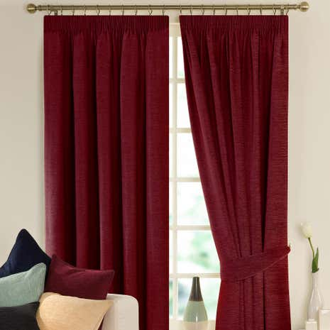 Lyon Wine Lined Pencil Pleat Curtains