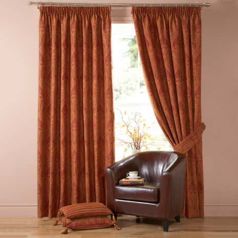 Terracotta Novello Lined Pencil Pleat Curtains