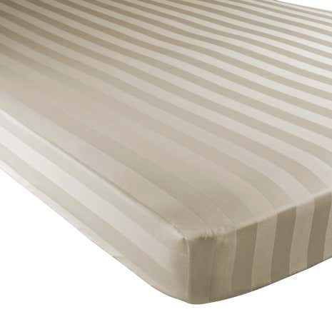 Hotel Stripe 300 Thread Count Cream 28cm Fitted Sheet