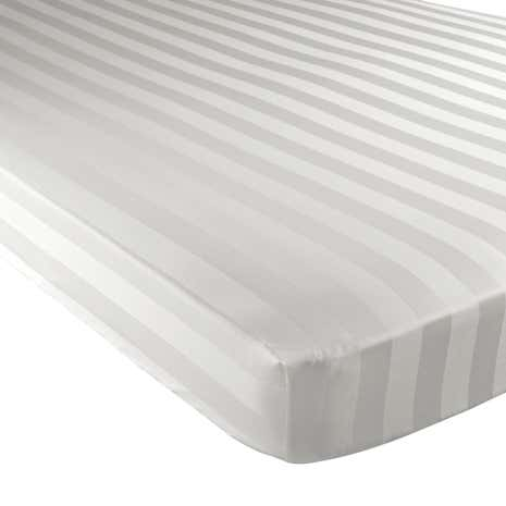 Hotel White Stripe 300 Thread Count Fitted Sheet