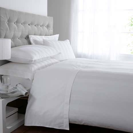 White Hotel Stripe 300 Thread Count Duvet Cover