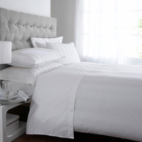 Hotel Stripe White 300 Thread Count Duvet Cover