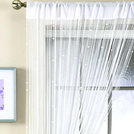 Charming White Beaded String Curtain