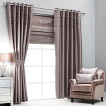 Hotel Mink Pintuck Lined Eyelet Curtains