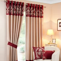 Savoy Wine Lined Eyelet Curtains