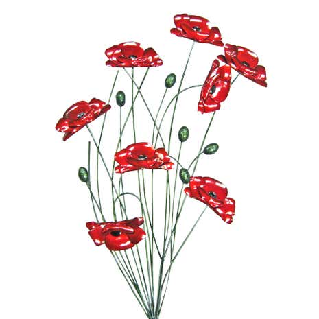 Bunch of Poppies Metal Wall Art