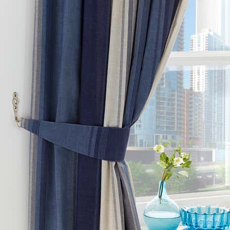 Finley Blue Pencil Pleat Curtains