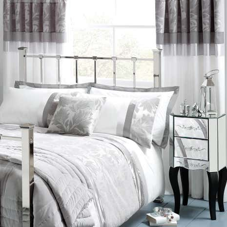 Silver Roma Damask Thermal Pencil Pleat Curtains