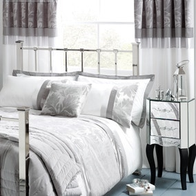 Roma Damask Silver Thermal Pencil Pleat Curtains
