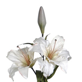 Artificial Cream Lilies Flower Spray