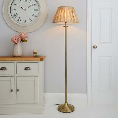 Floor lamps tripod standard lamps dunelm reeded brass floor lamp mozeypictures Gallery