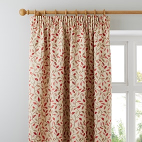 Heritage Glava Terracotta Lined Pencil Pleat Curtains