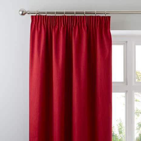 Red Solar Blackout Pencil Pleat Curtains