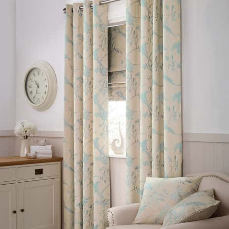 Duck Egg Songbird Lined Eyelet Curtains