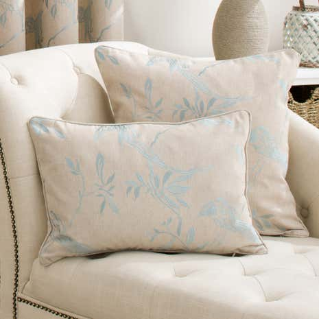 Songbird Duck-Egg Boudoir Cushion