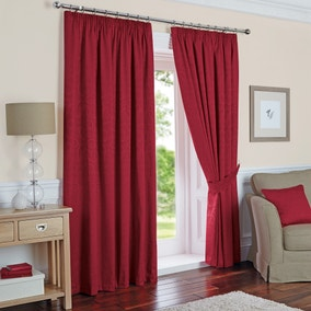 Toledo Claret Thermal Pencil Pleat Curtains