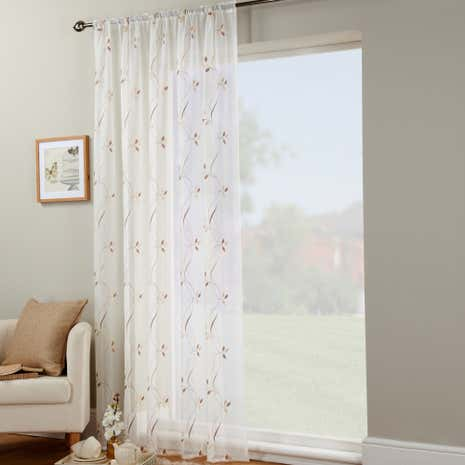 Chocolate Trail Leaf Voile Panel