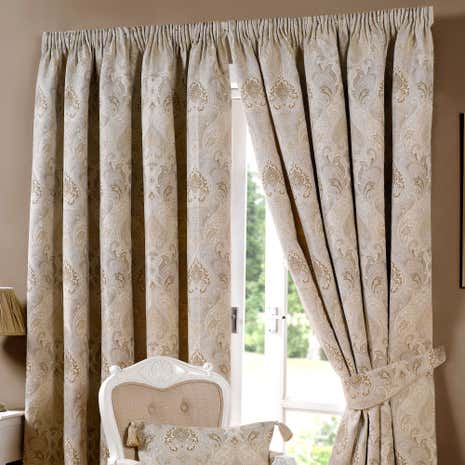 Novello Beige Lined Pencil Pleat Curtains