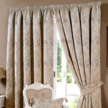 Beige Novello Lined Pencil Pleat Curtains