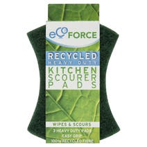 Pack of 3 EcoForce Recycled Heavy Duty Scourer Pads