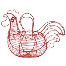 Cookshop Chicken Shaped Red Wire Basket